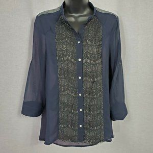 BKE Boutique Women's Sheer Button Front Top Small